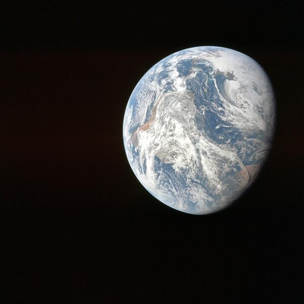 The view from #Apollo8 not long after CSM/S-IVB separation. One of the first full pics of the Earth! http://t.co/OSuj7RAih1
