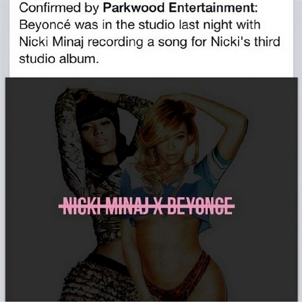 Dreams come true #nickiminaj + #beyonce recording together! http://t.co/PyuluR0sPa