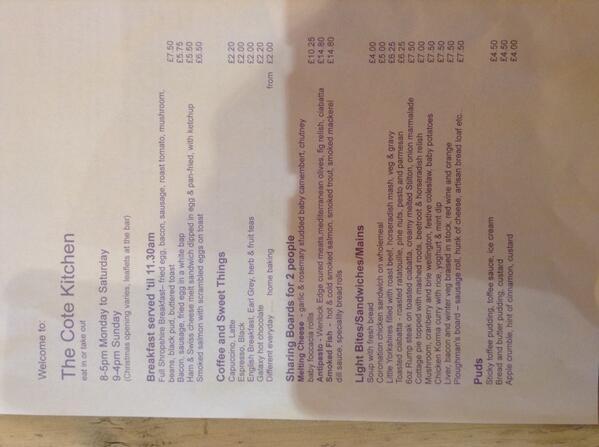 Churncote Kitchen Menu