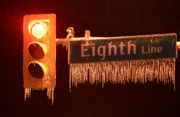 Roads snow covered & signs ice covered on 8th Line in Georgetown #onstorm #icestorm2013 http://t.co/98VdwMDxLv