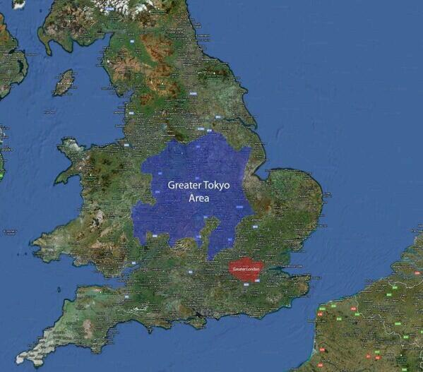 Greater #Tokyo superimposed over England (to give some sense of scale)  http://t.co/f0BsOiu9B3 v @FredrikGiertsen @Amazing_Maps @PD_Smith