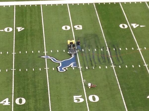 Erasing the Lions logo that won't be needed until next season after Detroit dropped out of playoff picture http://t.co/e5yv0jJ43U