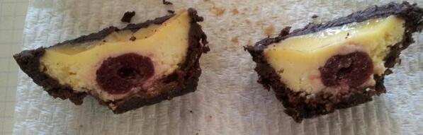Cross-section of the choc-covered-cherry cheesecakes