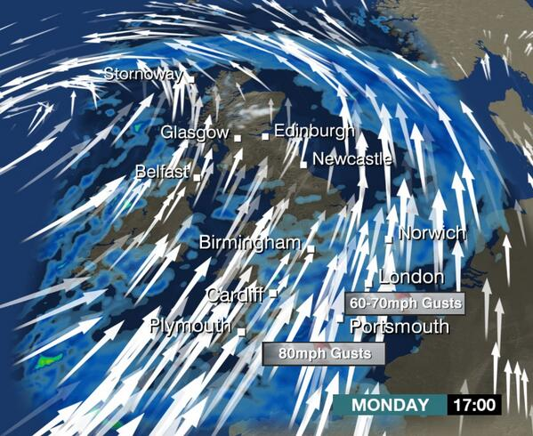 Very strong #winds in the SE corner later today. Here are the #gusts for 5pm. Jo W #UKStorm http://t.co/qA2cbzr3tx