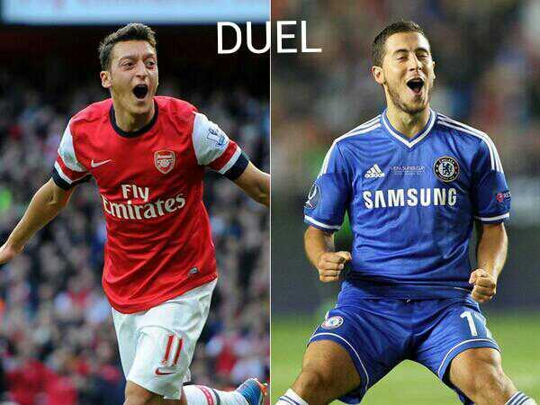 DUEL midfielder londons.. ozil vs hazard. . #eplpic <br>http://pic.twitter.com/NRnTj9nhyI