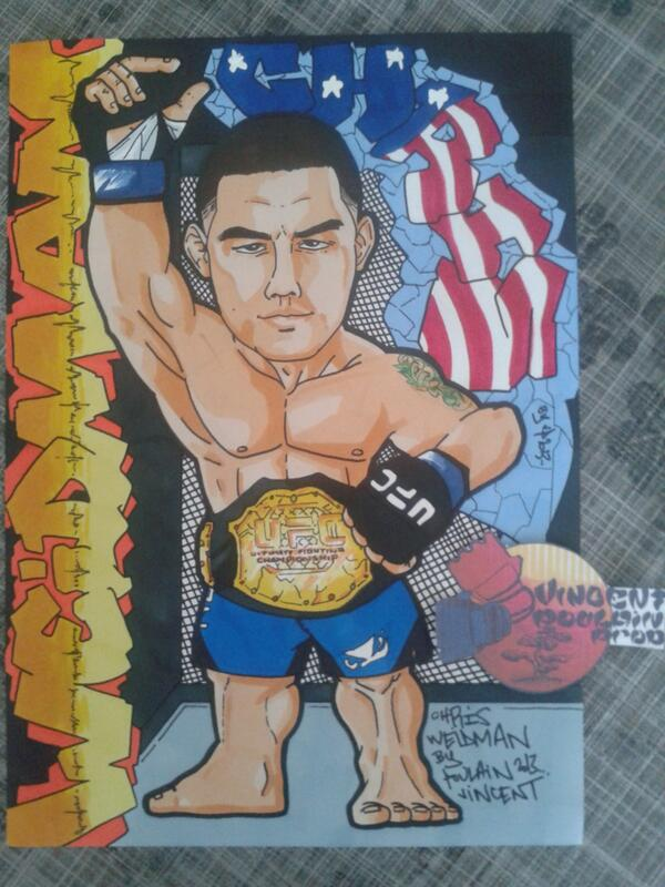 My new drawing for @ufc Champion @ChrisWeidmanUFC my fighters!!! By a french fan @Vincenthury