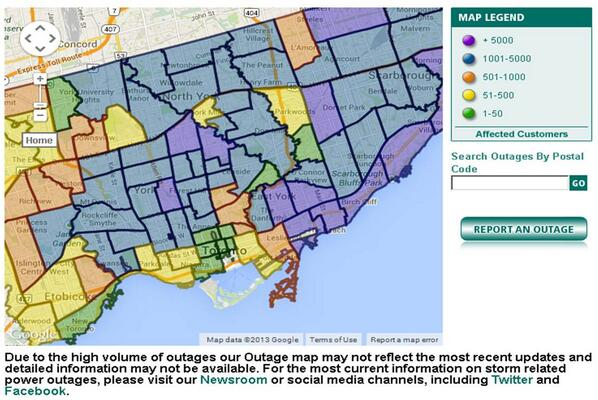 Toronto Hydro On Twitter Here S The Latest Power Outage Map For
