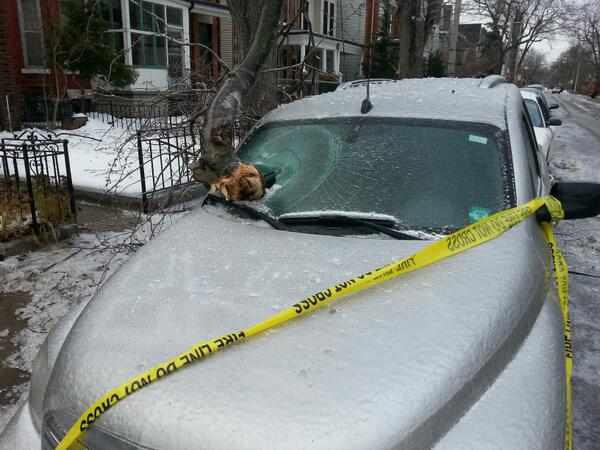Around the corner from my house, a wayward tree branch punched through this windshield. #starweather #icestorm2013 http://t.co/FM7J4v9G7l