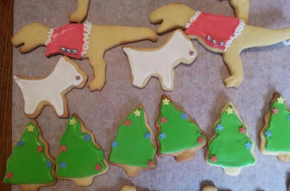 Sugar cookies! TyrannoSanta Rex, coconut Westies, Christmas trees