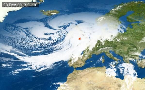 Beautiful but dangerous. A look at tonight's #ukstorm from space. That's one big swirl. http://t.co/1fVkkIsEbe