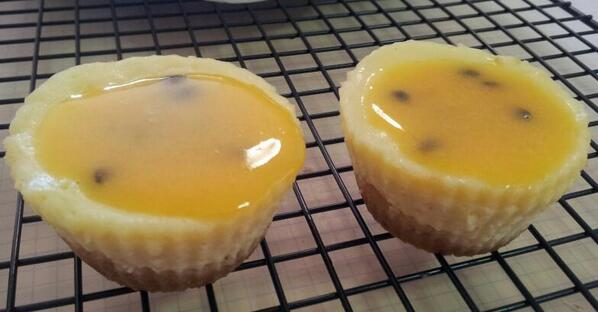 White chocolate cheesecake with passionfruit curd topping