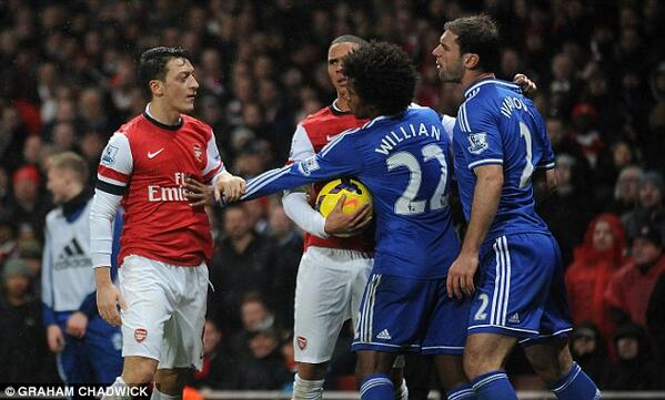 BcOsq HCYAIuMYa A GIF and pictures of the Arsenal v Chelsea ruck after Ivanovic put his boot near Ozils face