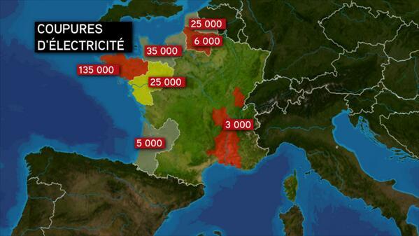La carte de France des coupures d'électricité après le passage de la tempête #Dirk http://t.co/QiERb6KiST
