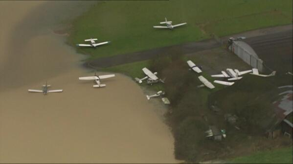 Most striking #UKstorm image yet? Planes scattered and upturned in Surrey http://t.co/PQH4uzjiOL