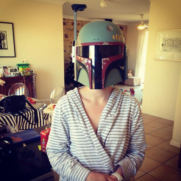 Despite asking for earrings, Sarah assures me a boba fett helmet is something she's always wanted! Merry Xmas prey!! http://t.co/tdxHFkfozt