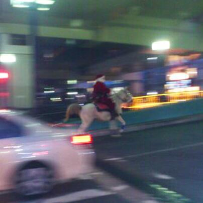 横浜元町から中華街に向けて歩いていたら、前方から蹄の音が・・・ えっ!?・・・と思った瞬間駆け抜けていったのは白馬に乗ったサンタクロースだった!! 雪がないとソリは使えないから馬なの?