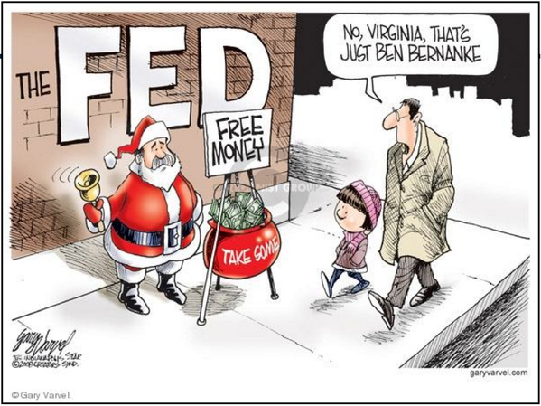 the FED. Free money. Take some. | Gary Varvel cartoon