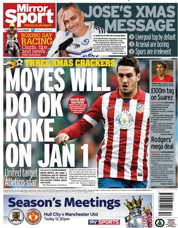 Manchester United are hot on the trail of £30m Atletico Madrid midfielder Koke [Mirror]