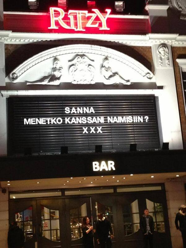 Seen outside a cinema in London SW2 last night! Who is Sanna and did she say Yes??!! http://t.co/2xvjnppvJp