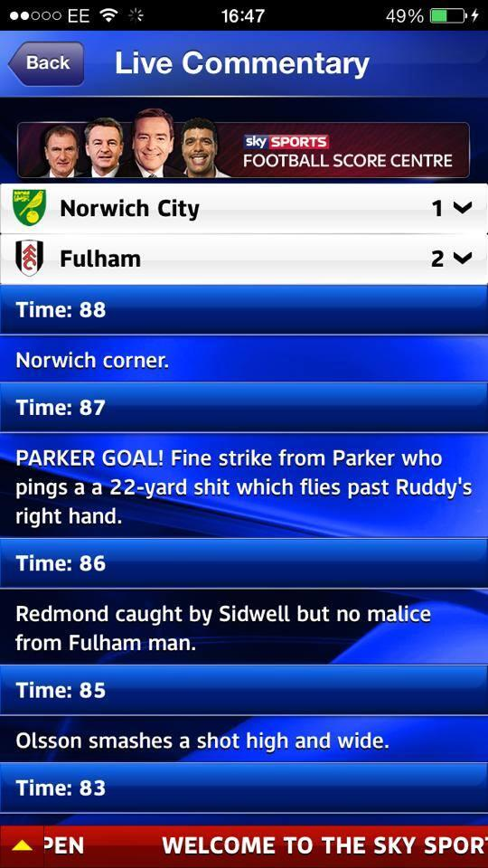Scott Parker did what?! Amusing Sky Sports text error for Fulhams winner at Norwich!