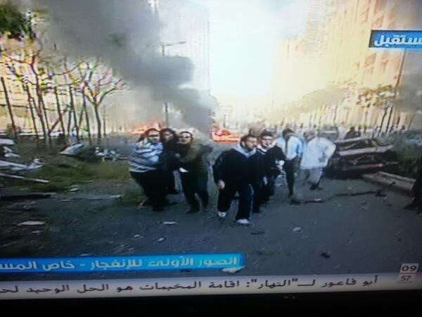 Future TV reporter on the scene: total chaos the whole street is destroyed. Car explosion. #beirut #lebanon http://t.co/tCSu7u9XZH