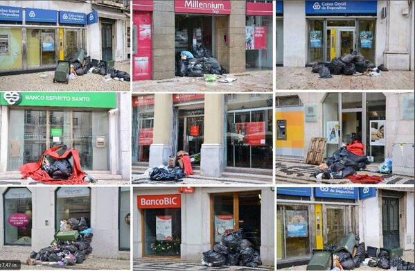 .@NATGAT2013 In #Portugal trash collectors on strike so ppl left their rubbish at the banks! #lulz http://t.co/C7gNYL3lgQ v/ @SignsOfRevolt