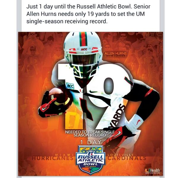 My lil bro @A1hurns is bout to make history.... #CaneGang #UM #RecordBreaker http://t.co/xNxmBmFndd