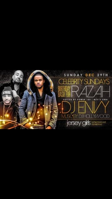 Tonight #JerseyGirlsOnSundays 167 Bayway Ave Eliz NJ @djenvy @DJHollywoodKO + @iamRAZAH Bday Bash 8pm-2am http://t.co/sFQThg2EoB