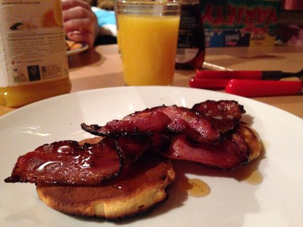 Bacon and maple syrup on pancakes