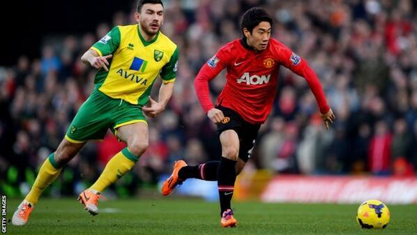 Kagawa made 98% of his passes for Man United at Norwich but he still failed to impress [Individual highlights]