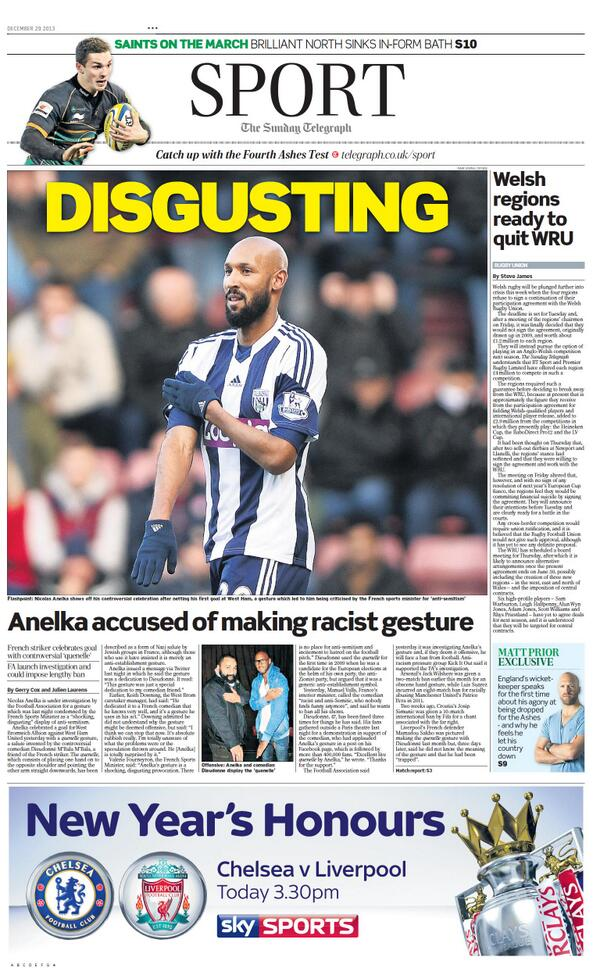 Sunday Telegraph Sport front page: Picture of Nicolas Anelka with the headline Disgusting