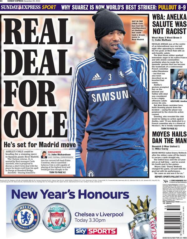 Chelseas Ashley Cole tipped to move to Real Madrid at the end of the season [Sunday Express]