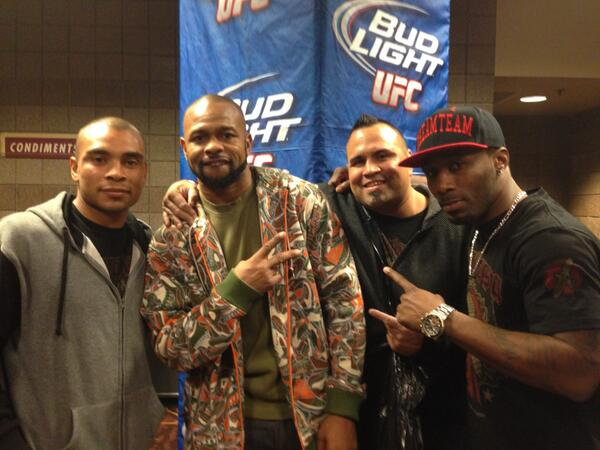.@PeraltaMMA celebrates his #UFC168 win with @RealRoyJonesJr!