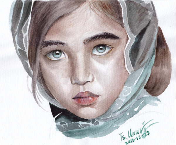 За өчигдрийн зургаа дуусгалаа. Энэ охиныг зурахаар дээр татаад авчихсан бсан юм, усан будгаар зурах амаргүй бла :) http://t.co/aMmobGInea