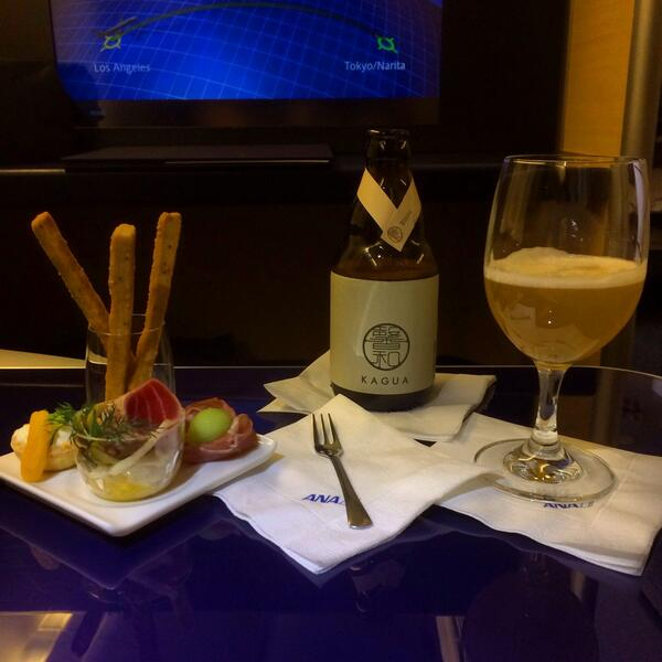 Amuse Bouche and Kagua Yuzu Ale onboard ANA. As always, ANA has the best catering in the sky. #ANA #AllNippon http://t.co/j51SNkgyGt