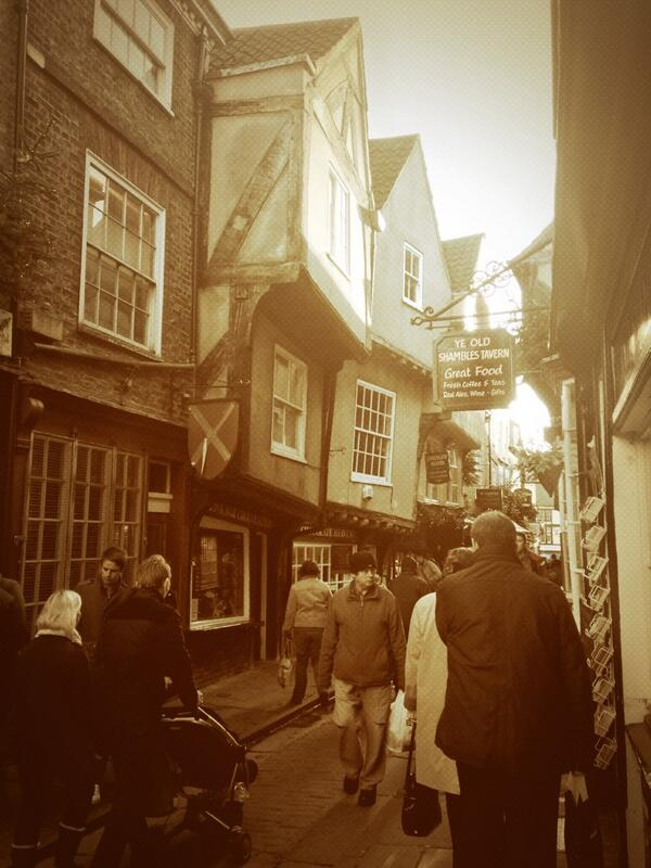 Crooked buildings in The Shambles, York
