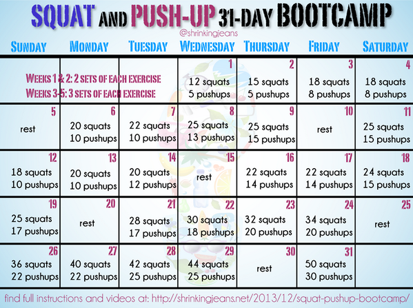 Squat & PushUp 31Day Bootcamp! Print it off, be ready to start 1/1. Instruc & videos here: http://t.co/5MKb4OfqNv http://t.co/N16H0aeDx3