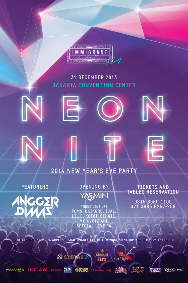 NYE party? No doubt for this one > NEON NITE @IMMIGRANT_jkt at JCC. Lets counting down! @anggerdimas @DJ_Yasmin http://t.co/fwiW4Y8x6U