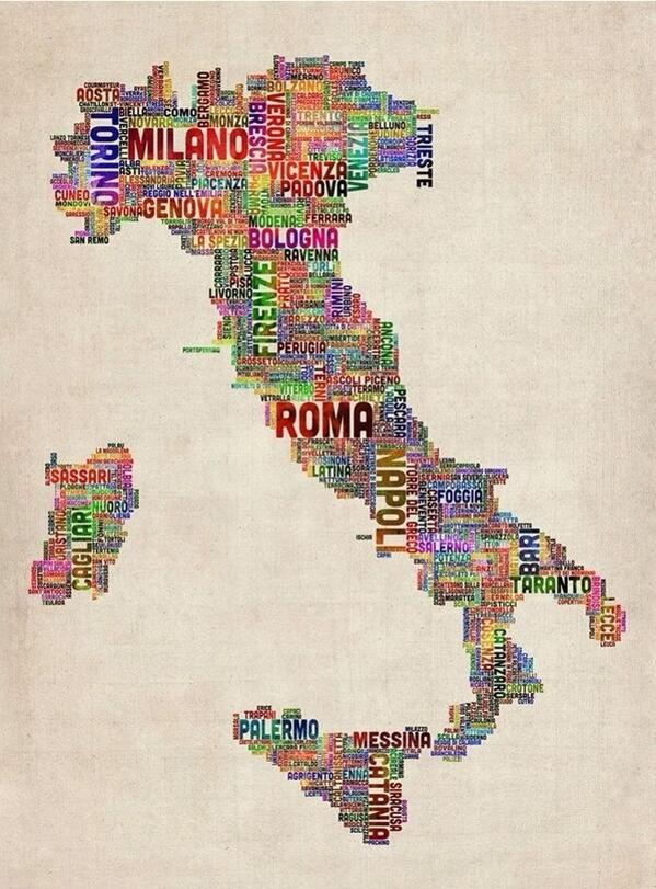 Gab Marti On Twitter Areyouitalian Full Map Of Italy Made With City Names Http T Co Kl08anpzvk Napoli