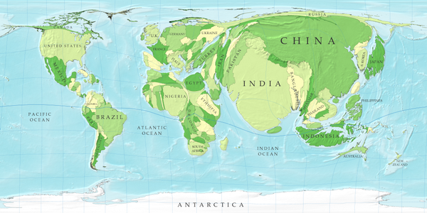 Amazing Maps On Twitter World Map Distorted By Population Source