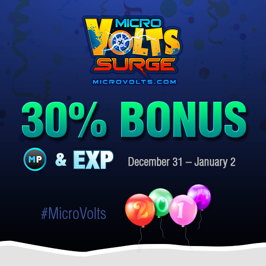 Use what's left of 2013 to pad your accounts! From December 31 - January 2, get 30% MORE MP & EXP in #MicroVolts! http://t.co/5hYAGPFqga