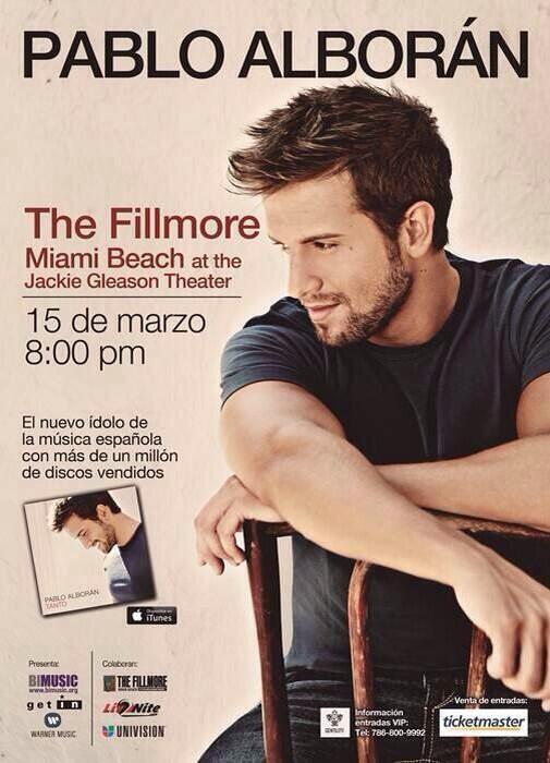 15 Marzo concierto @pabloalboran Fillmore Miami Beach (Miami) ENTRADAS YA A LA VENTA http://t.co/7s3fVe9D5I   http://t.co/vl0J4piFQP