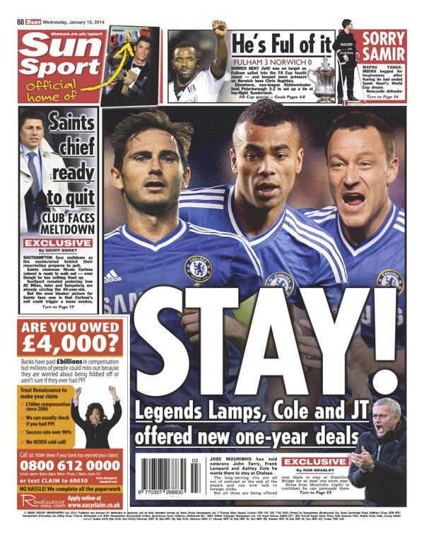 Chelsea trio Frank Lampard, John Terry and Ashley Cole handed new one year contracts [Sun]