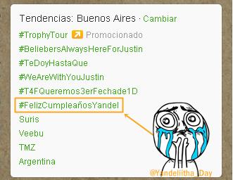 #FelizCumpleañosYandel sigue siendo TT en ARGENTINA w.w @llandel_malave @wisinyyandel @llanderis01 @WYFcOficialArg http://t.co/pG02e2xFEx