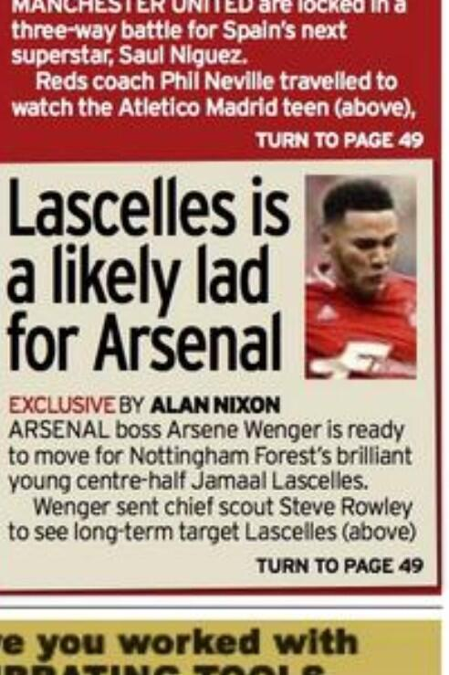 Arsenal ready to move for 19 year old Nottingham Forest defender Jamaal Lascelles [Mirror]