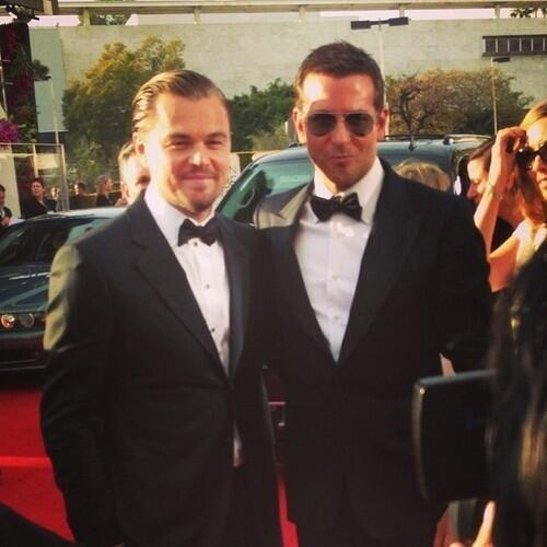Quick break from the dresses just to stare at Leonardo DiCaprio and Bradley Cooper on the #GoldenGlobes carpet... http://t.co/oAMFdgvEuH