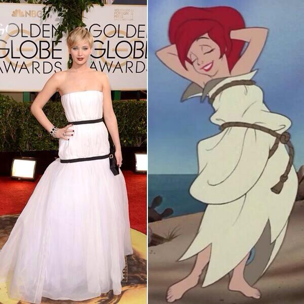 Nailed it. RT @McKinzie: Who wore it better: Jennifer Lawrence or Ariel? #GoldenGlobes http://t.co/EN2JOq9OeQ