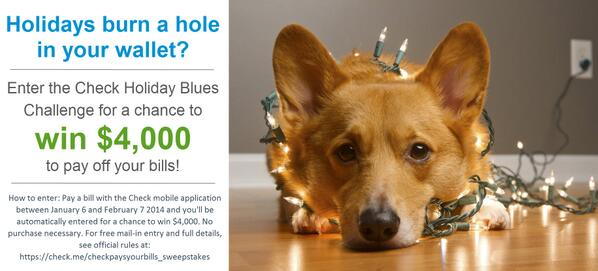 We're giving away $4,000! Pay bills w/Check between Jan. 9 and Feb. 8 2014, & be entered for a chance to win $4,000! http://t.co/dA1NPYh4mI