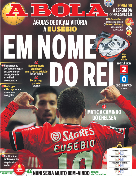 €25m Matic will join Chelsea on Tuesday from Benfica after snubbing Man United [Record, A Bola & O Jogo]