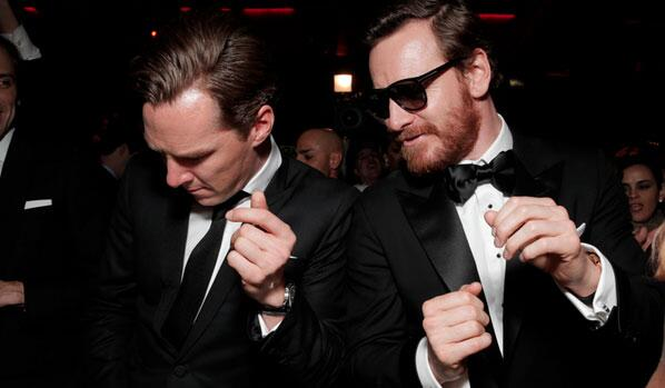 Michael Fassbender and Benedict Cumberbatch are dancing at #GoldenGlobes AfterParty... http://t.co/M4fypZFoYz